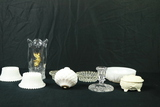 Crystal Vase, Crystal Candle Stick Holder, 4 Pieces Of Milk Glass, 2 Glass Candle Holders, Trinket B
