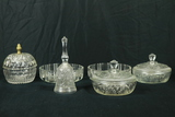 3 Pressed Glass Candy Dishes, Pressed Glass Bell, 2 Glass Bowls