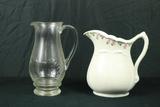 John Maddock Porcelain Tea Pitcher & Etched Glass Tea Pitcher