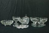 4 Ice Cream Glass Bowls, 2 Bowls, Covered Dish, Glass Butter Dish