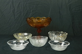 5 Pressed Glass Bowls & Amber Glass Compote