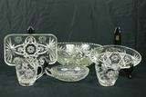 3 Pressed Glass Trays, Pressed Glass Creamer/Sugar, Pressed Glass  Bowl