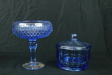 Blue Glass Compote & Covered Bowl