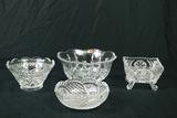 4 Pressed Glass Bowls