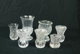 7 Pressed Glass Vases