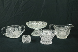 Pressed Glass Creamer & Sugar, Crystal Napkin Ring, & 2 Pressed Glass Bowls