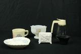 Milk Glass Toothpick Holder, Cast Iron Bucket, 2 Bowls, & 1 Cup