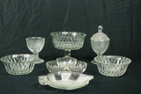 3 Pressed Glass Bowls, Divided Tray, 2 Leaf Plates, & Compote