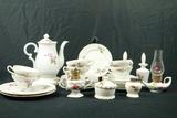 Moss Rose Pattern Tea Set, Dresser Set, & Assorted Pieces