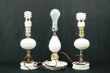 3 Milk Glass Lamps