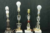 3 Marble Base Lamps & 1 Glass Lamp