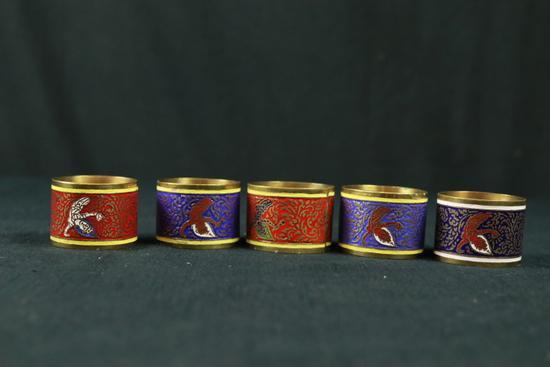5 Cloisenne Napkin Rings