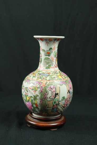Oriental Hand Painted Vase On Stand