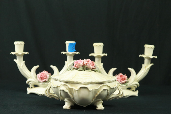 Capademonte Double Candle Holder & Covered Bowl
