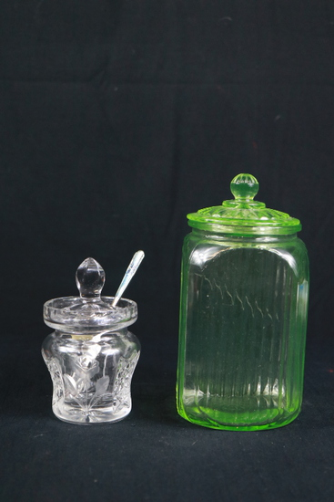 Crystal Sugar Bowl & Depression Glass Jar