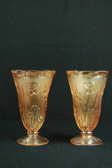 Pair Of Iris & Herringbone Vases
