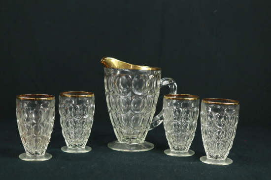 Pitcher & 4 Glasses With Gold Trim