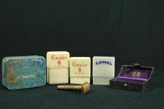 2 Cavalier Cigarette Containers, Camel Cigarette Container, Safety Razor, & Box