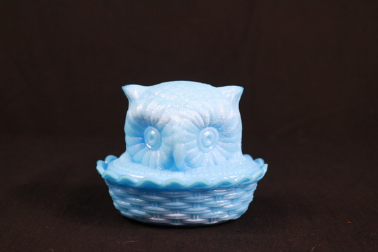 Blue Glass Owl Basket