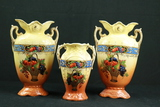 3 Hand Painted Mantle Vases