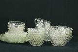Set Of Bubble Glass Cups, Bowls & Plates