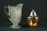 Carnival Glass Pear & Pitcher
