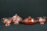 2 Pink Depression Glass Butter Dishes