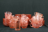 Assorted Pink Depression Glass Plates & Cups