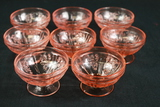 8 Pink Depression Glass Dessert Cups
