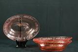 3 Pink Depression Glass Bowls & Plate