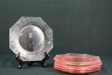 6 Depression Glass Plates