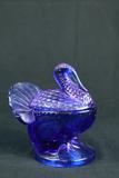 Blue Glass Covered Turkey Dish