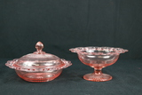 Depression Glass Compote & Covered Dish