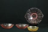 2 Depression Glass Bowls & 1 Plate