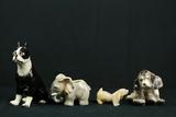 3 Porcelain Animals & 1 Quartz Animal