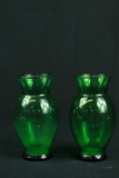 Pair Of Green Glass Vases