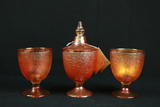 L.E. Smith Carnival Glass 2 Cups & 1 Covered Cup