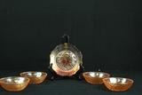 4 Iris & Herringbone Bowls & 1 Plate