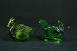 Glass Turkey Toothpick Holder & Glass Swan