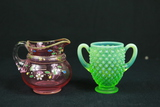 Hand Painted Pitcher & Hobnail Vase