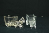 Antique Glass Candy Holder Horse & Wagon