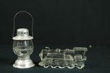 Antique Glass Train & Lantern Candy Holders