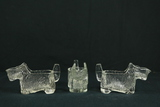 3 Antique Glass Dog Candy Holders