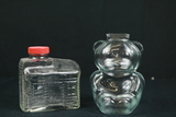 Glass Bear Piggy Bank & Log Cabin Bottle