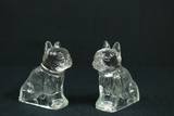 2 Antique Glass Dog Candy Holders