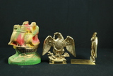 Chalkware Bookend & 2 Brass Bookends