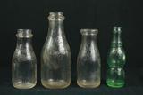 3 Farmers Creamery Milk Bottles, & 1 Nugrape Bottle Fredericksburg, VA