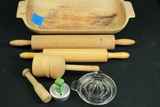 2 Wooden Rolling Pins, Juicer, & Wooden Bowl