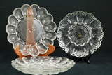 3 Glass Egg Plates