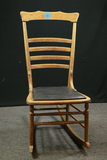 Oak Rocking Chair With Leather Seat